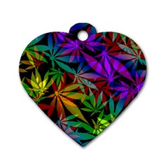 Ganja In Rainbow Colors, Weed Pattern, Marihujana Theme Dog Tag Heart (one Side)