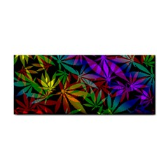 Ganja In Rainbow Colors, Weed Pattern, Marihujana Theme Hand Towel