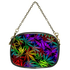 Ganja In Rainbow Colors, Weed Pattern, Marihujana Theme Chain Purse (one Side)