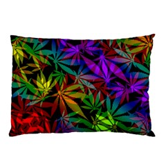 Ganja In Rainbow Colors, Weed Pattern, Marihujana Theme Pillow Case