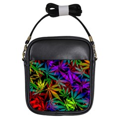 Ganja In Rainbow Colors, Weed Pattern, Marihujana Theme Girls Sling Bag