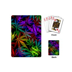 Ganja In Rainbow Colors, Weed Pattern, Marihujana Theme Playing Cards Single Design (mini)