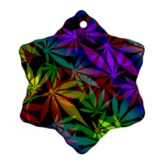 Ganja In Rainbow Colors, Weed Pattern, Marihujana Theme Ornament (snowflake)