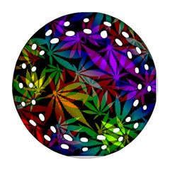 Ganja In Rainbow Colors, Weed Pattern, Marihujana Theme Round Filigree Ornament (two Sides)
