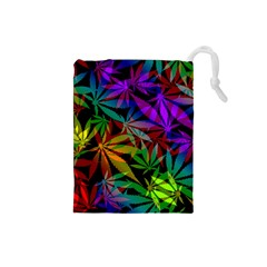 Ganja In Rainbow Colors, Weed Pattern, Marihujana Theme Drawstring Pouch (small)