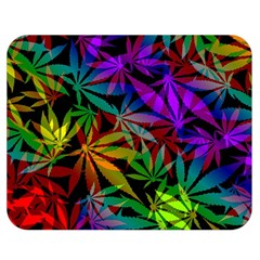 Ganja In Rainbow Colors, Weed Pattern, Marihujana Theme Double Sided Flano Blanket (medium)