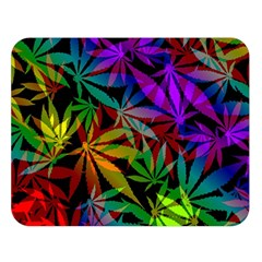 Ganja In Rainbow Colors, Weed Pattern, Marihujana Theme Double Sided Flano Blanket (large)