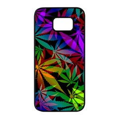 Ganja In Rainbow Colors, Weed Pattern, Marihujana Theme Samsung Galaxy S7 Edge Black Seamless Case