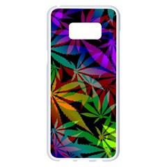 Ganja In Rainbow Colors, Weed Pattern, Marihujana Theme Samsung Galaxy S8 Plus White Seamless Case