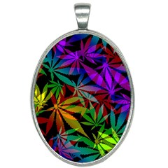 Ganja In Rainbow Colors, Weed Pattern, Marihujana Theme Oval Necklace