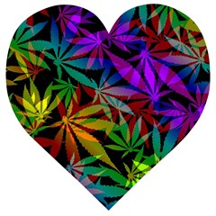 Ganja In Rainbow Colors, Weed Pattern, Marihujana Theme Wooden Puzzle Heart