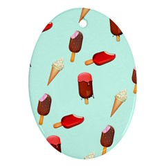 Ice Cream Pattern, Light Blue Background Ornament (oval)