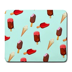 Ice Cream Pattern, Light Blue Background Large Mousepads