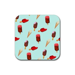 Ice Cream Pattern, Light Blue Background Rubber Coaster (square)