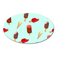 Ice Cream Pattern, Light Blue Background Oval Magnet