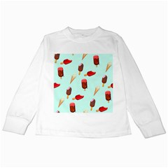 Ice Cream Pattern, Light Blue Background Kids Long Sleeve T-shirts