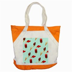 Ice Cream Pattern, Light Blue Background Accent Tote Bag