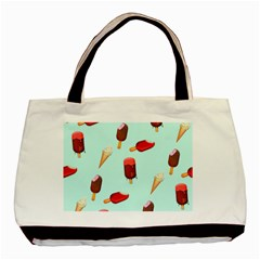 Ice Cream Pattern, Light Blue Background Basic Tote Bag (two Sides)
