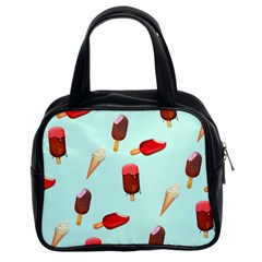 Ice Cream Pattern, Light Blue Background Classic Handbag (two Sides)