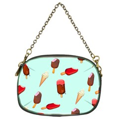 Ice Cream Pattern, Light Blue Background Chain Purse (two Sides)