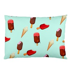 Ice Cream Pattern, Light Blue Background Pillow Case