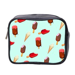 Ice Cream Pattern, Light Blue Background Mini Toiletries Bag (two Sides)
