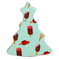 Ice Cream Pattern, Light Blue Background Christmas Tree Ornament (two Sides)