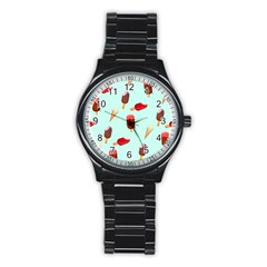 Ice Cream Pattern, Light Blue Background Stainless Steel Round Watch