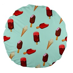 Ice Cream Pattern, Light Blue Background Large 18  Premium Flano Round Cushions