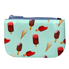 Ice Cream Pattern, Light Blue Background Large Coin Purse