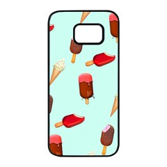 Ice Cream Pattern, Light Blue Background Samsung Galaxy S7 Edge Black Seamless Case