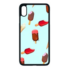 Ice Cream Pattern, Light Blue Background Iphone Xs Max Seamless Case (black)