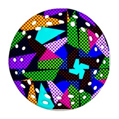 Trippy Blocks, Dotted Geometric Pattern Ornament (round Filigree)