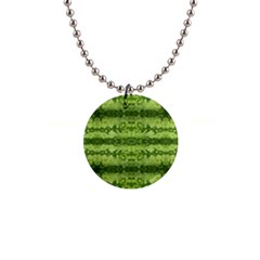 Watermelon Pattern, Fruit Skin In Green Colors 1  Button Necklace