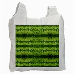 Watermelon Pattern, Fruit Skin In Green Colors Recycle Bag (two Side)