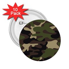 Texture Military Camouflage-repeats Seamless Army Green Hunting 2 25  Buttons (10 Pack)