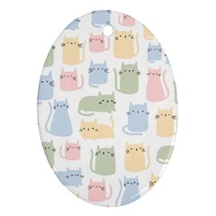 Cute Cat Colorful Cartoon Doodle Seamless Pattern Ornament (oval)