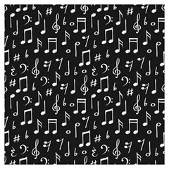 Chalk Music Notes Signs Seamless Pattern Long Sheer Chiffon Scarf