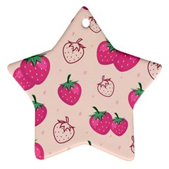 Seamless Strawberry Fruit Pattern Background Ornament (star) by Vaneshart