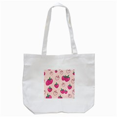 Seamless Strawberry Fruit Pattern Background Tote Bag (white) by Vaneshart