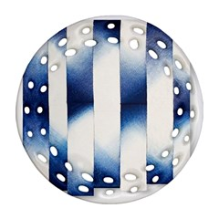 Blue Strips Round Filigree Ornament (two Sides)