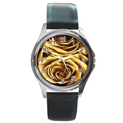 Gold Roses Round Metal Watch