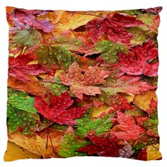 Spring Leafs Large Flano Cushion Case (one Side)