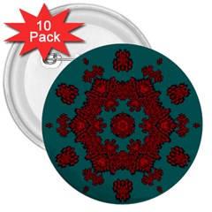 Cherry-blossom Mandala Of Sakura Branches 3  Buttons (10 Pack)  by pepitasart