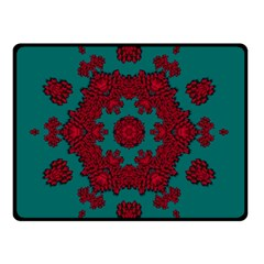 Cherry-blossom Mandala Of Sakura Branches Double Sided Fleece Blanket (small)  by pepitasart
