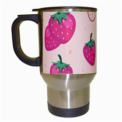 Seamless-strawberry-fruit-pattern-background Travel Mugs (white)