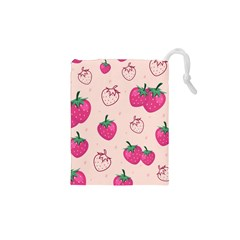 Seamless-strawberry-fruit-pattern-background Drawstring Pouch (xs) by Vaneshart
