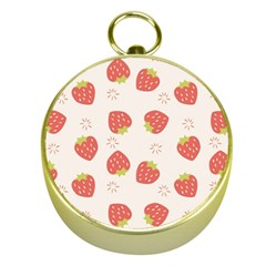 Strawberries-pattern-design Gold Compasses by Vaneshart