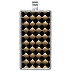 Golden-chess-board-background Rectangle Necklace by Vaneshart