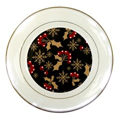 Christmas Pattern With Snowflakes Berries Porcelain Plates by Vaneshart